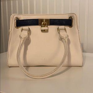 White and Navy Blue Handbag